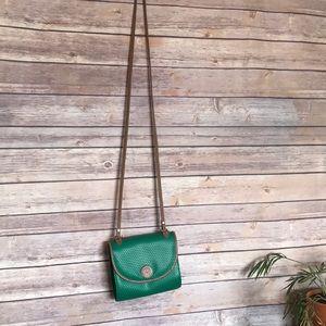 Liz Claiborne green embossed Brown crossbody purse